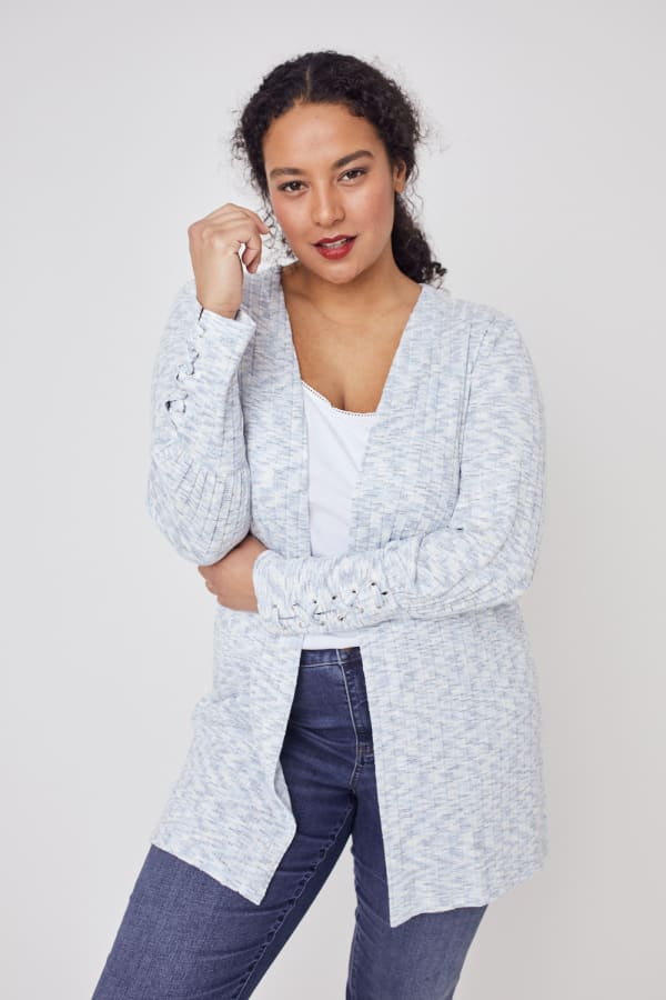 Westport Lace-Up Sleeve Cardigan Duster - Plus - Blue Multi - Front