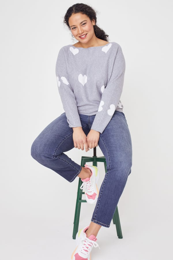 Westport I Wear My Heart on My Sleeve Sweater - Plus - Grey/White - Front