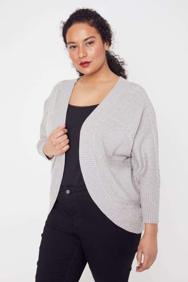 Westport Cocoon Cardigan Sweater - Plus - Heather Grey - Front