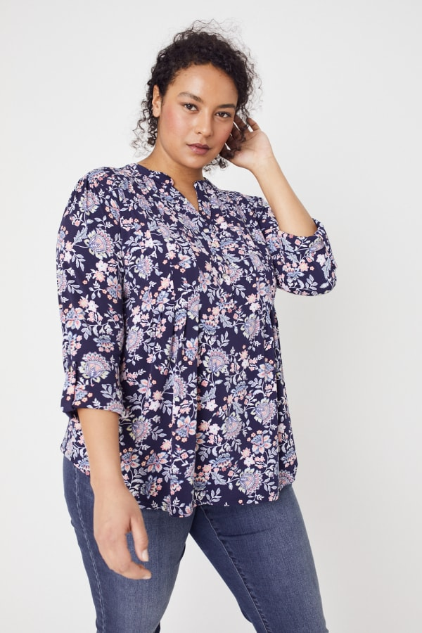 Roz & Ali Jacobean Floral Pintuck Popover - Plus - Navy - Front