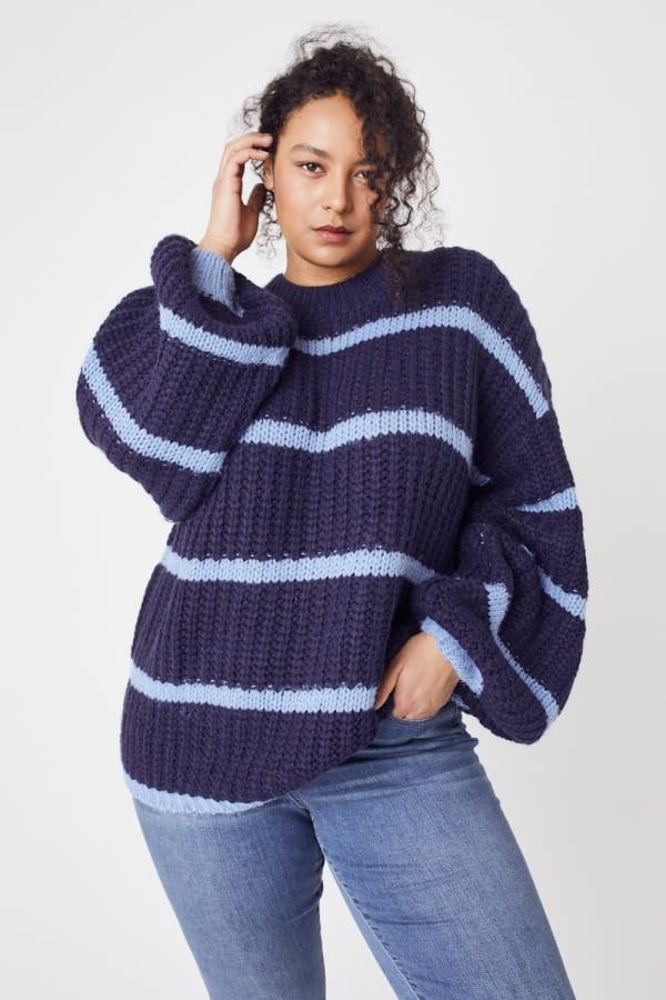Westport Cozy Stripe Pullover Sweater - Plus