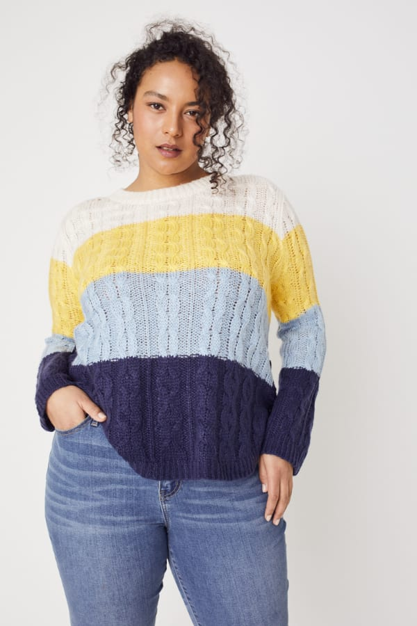 Westport Colorblock Curved Hem Sweater - Plus - Navy Multi - Front