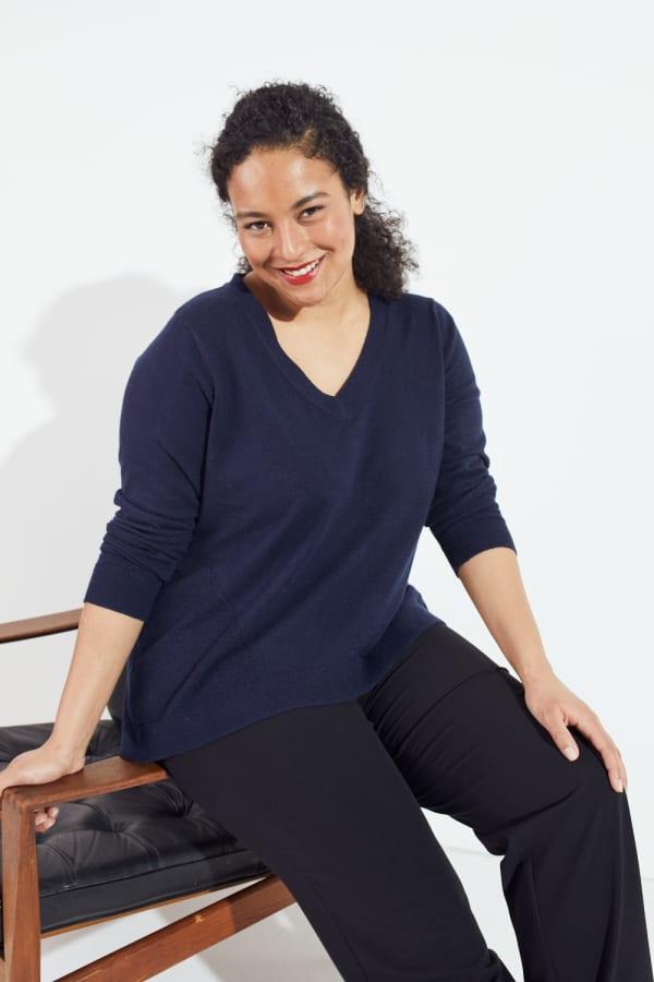 Roz & Ali Pointelle Hi/Lo Tunic Sweater - Plus