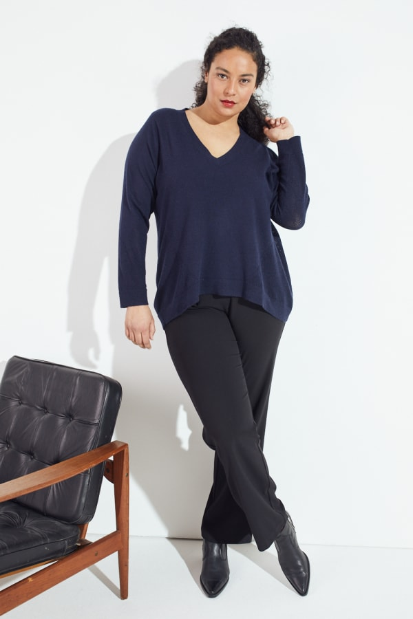 Roz & Ali Pointelle Hi/Lo Tunic Sweater - Plus - Navy - Front
