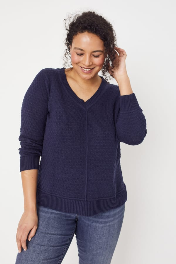 Roz & Ali Crochet Tunic Sweater - Plus - Navy - Front