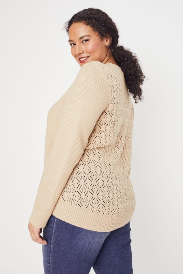 Westport Novelty Back Pullover Sweater - Plus - Neutral - Front