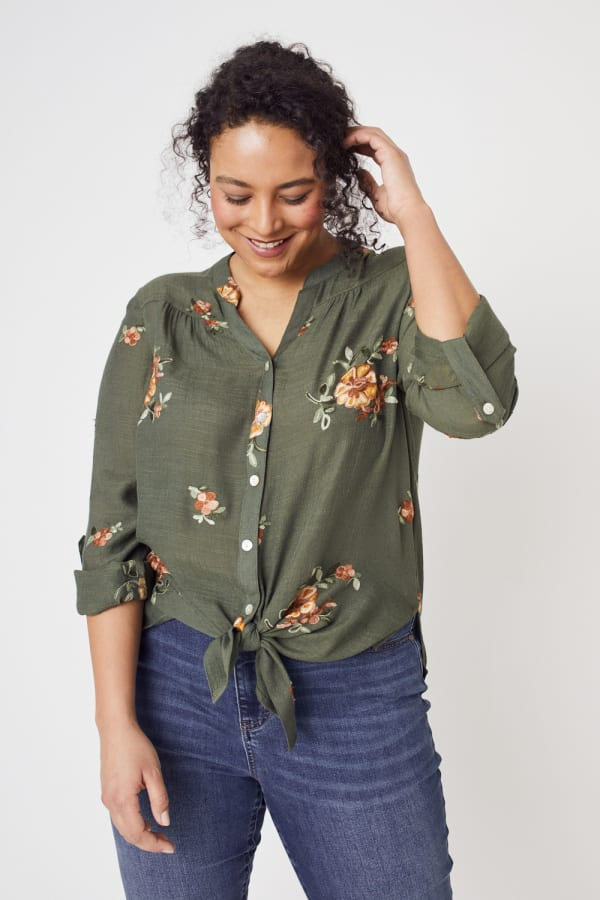 Olive Embroidered Button Front Woven Blouse- Plus