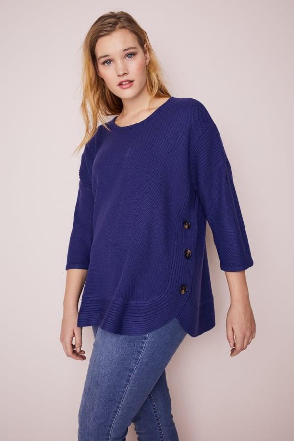 Westport Curved Hem Tunic Sweater  - Plus - Navy - Front