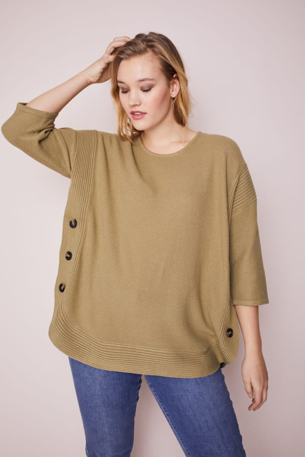 Westport Curved Hem Tunic Sweater  - Plus - Olive - Front