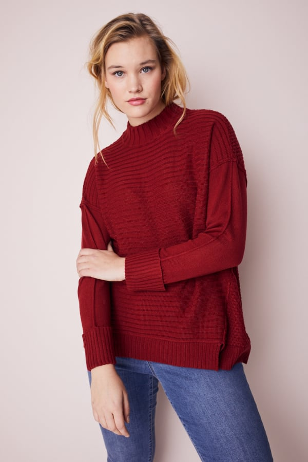 Westport Mixed Stitch Pullover Sweater - Plus - Brick Red - Front