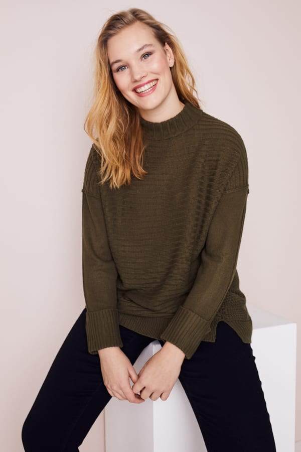 Westport Mixed Stitch Pullover Sweater - Plus - Olive - Front