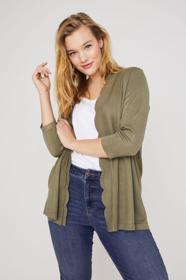 Roz & Ali 3/4 Sleeve Scallop Trim Cardigan - Plus -Antique Olive - Front