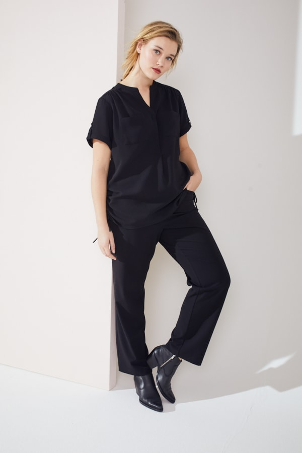 Roz & Ali Short Sleeve Side Tie Popover Blouse  - Plus - Black - Front