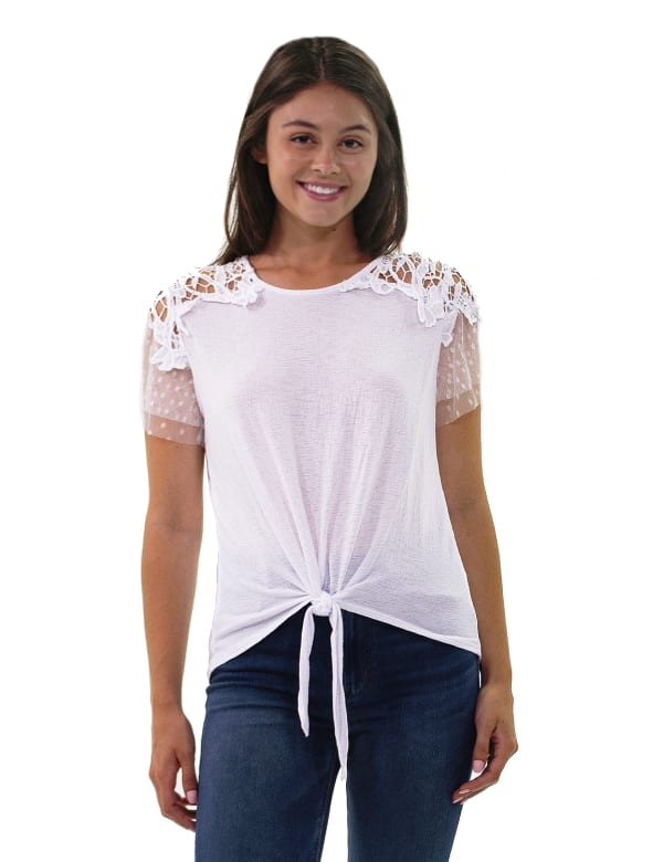 Short Point De Sprit Sleeve Top With Crochet Detail And Knotted Hem - Petite