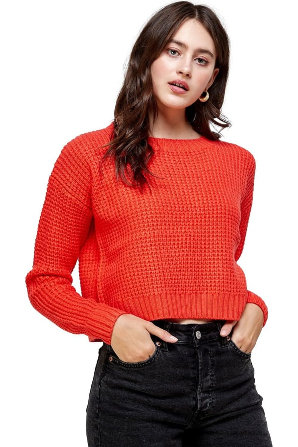Kaii Waffle Knitted Cropped Sweater Top