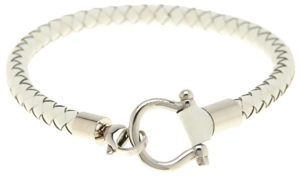 "Jean Claude Leather ""D"" Clamp Closure Bracelet - White / Grey - Front"
