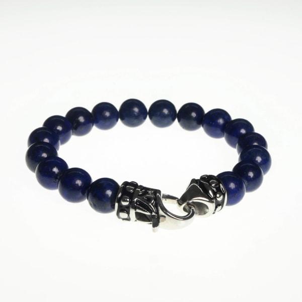 Jean Claude 10mm Lapis Lazuli Eye Beads Bracelet with Stainless Steel Ornamental Hook Closure