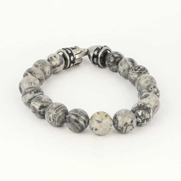 Jean Claude Jasper Beads Bracelet with Stainless Steel Hook Closure