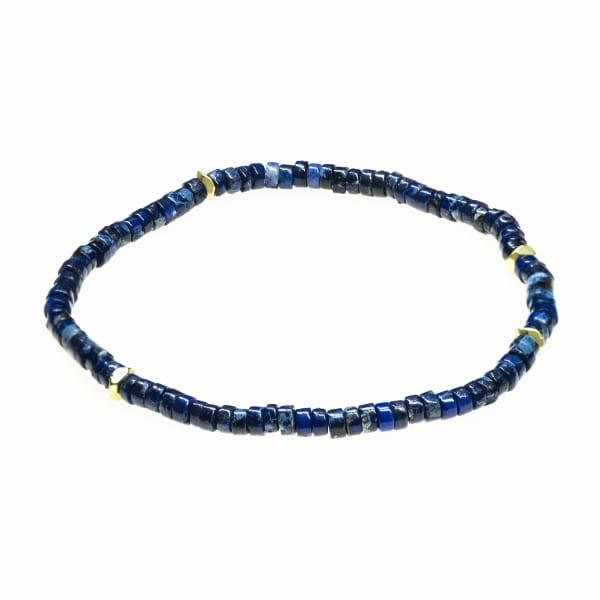 Jean Claude Multicolored Randel Agate Lapis Lazuli and Turquoise Bead Stretchable Bracelet - Multicolor - Front