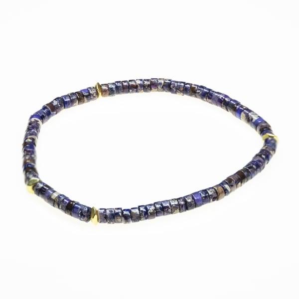 Jean Claude Rondelle Agate, Lapis & Dumarite Beads Strechable Bracelet - Multicolor - Front