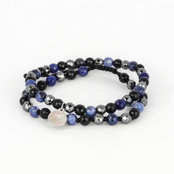 Dell Arte by Jean Claude Double Combo Shamballa Beads Bracelets With Stainless Steel Tag, Including Lapis  Lazuli, Black Onyx And Black Obsidian, Hematite Bead Beads