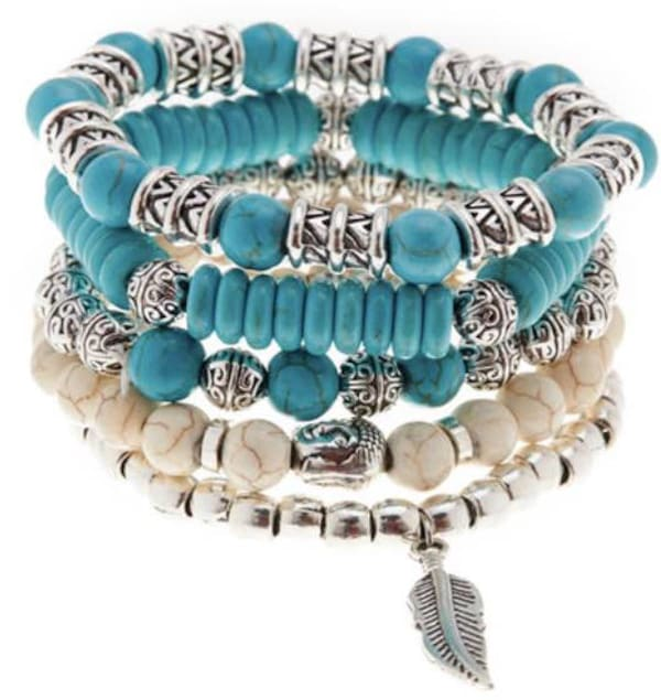 Jean Claude 5 Pieces Set Bracelets Boho Chic Natural Magnesite and Manmade Turquoise Stone Beads Bracelets