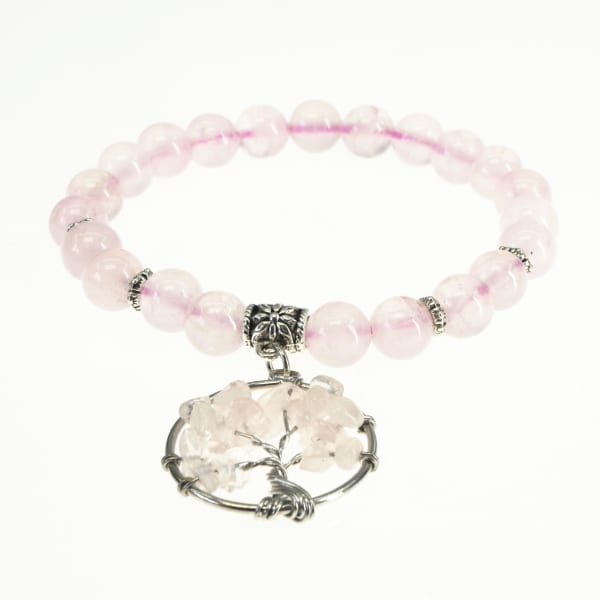 Jean Claude 8 mm Natural Pink Quartz Beads Healing Stretchable Bracelet with  Pink Quartz Tree of Life Charm