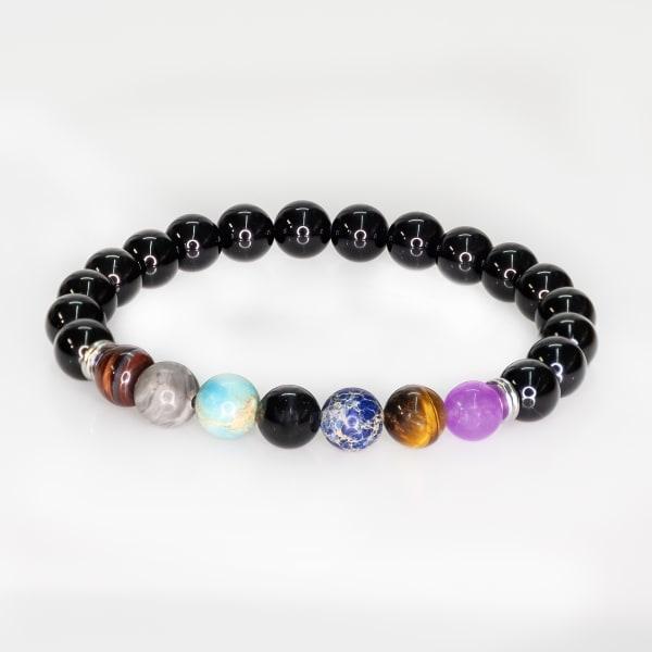 Jean Claude Black Onyx Stone with 7 Chakra Multicolor Agate Bead Bracelet - Multi - Front
