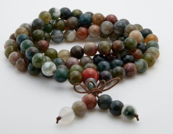 Jean Claude Jasper and Agate Stone Beads Stretchable Multi Wrap Bracelet - Multi - Front