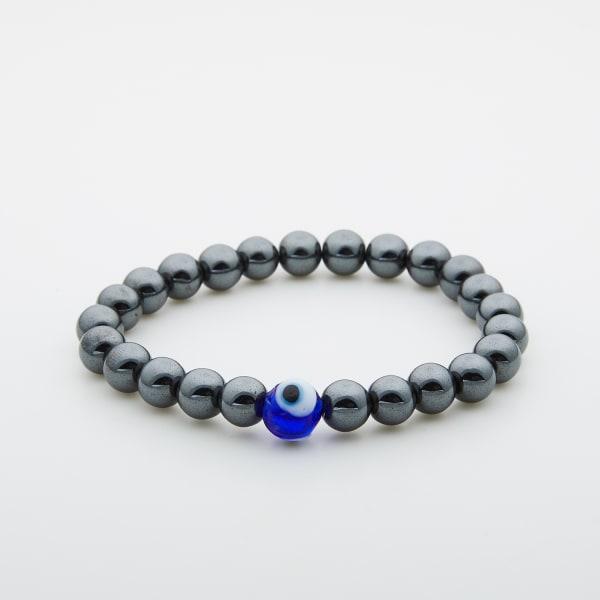 Jean Claude Hematite Evil Eye Protection Stretchable Bead Bracelet - Silver - Front