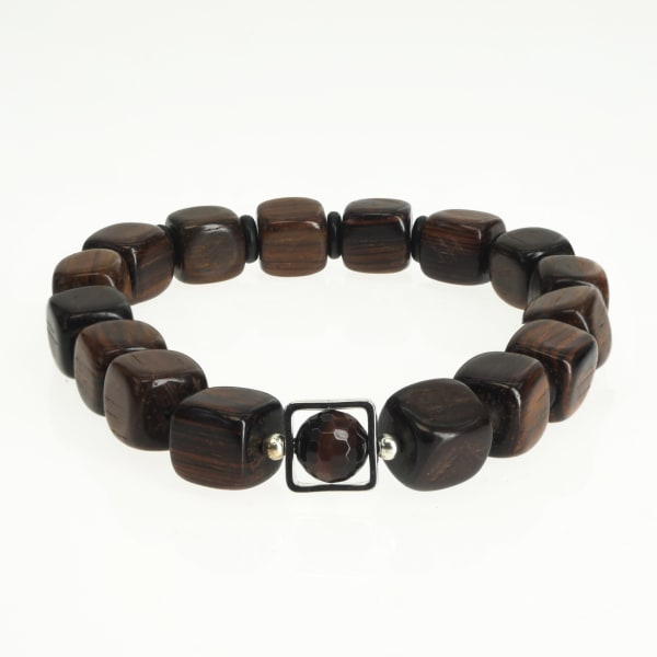 Jean Claude 10 mm Sandal Wood with Red Tiger Eye Stone Spiritual Bracelet ,Size is 20 cm. Fits 8 - 8.5 wrist