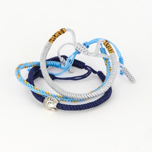 Jean Claude Tibetan Lucky Knots Multi-colored Set of 3 Bracelets - Blue / Navy - Front