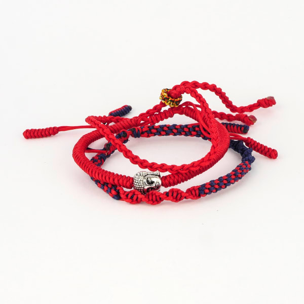 Jean Claude Tibetan Lucky Knots Multi-colored Set of 3 Bracelets - Red / Black - Front