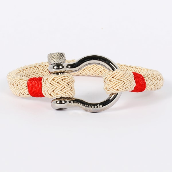 Jean Claude 316l Stainless Steel + Nylon Rope Bracelet With Stainless