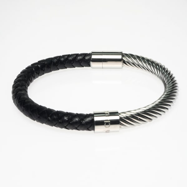 Jean Claude Stainless Steel, Genuine Leather Incrusted Bangle