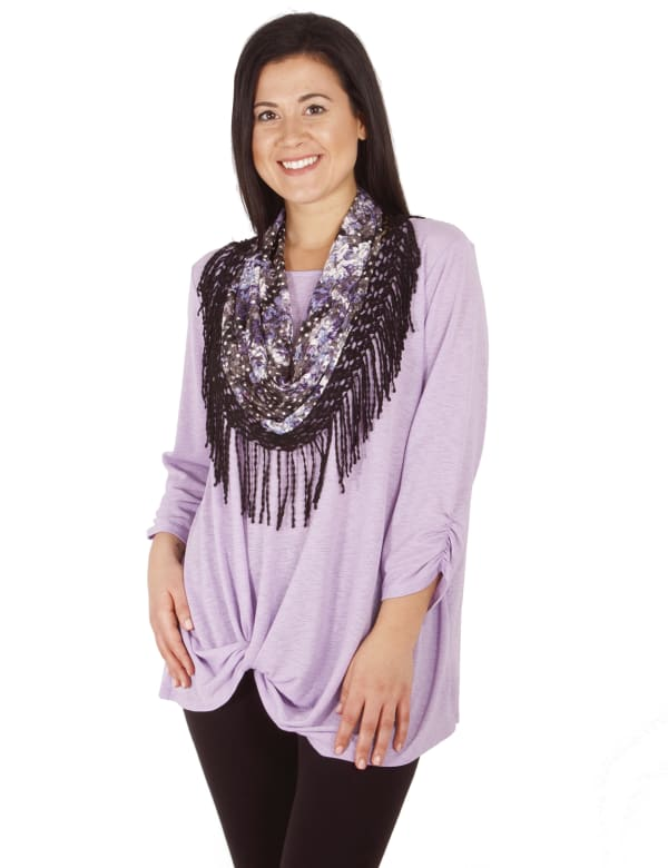 3/4 Rouched Sleeve Twist Front Tunic With Detachable Scarf - Petite