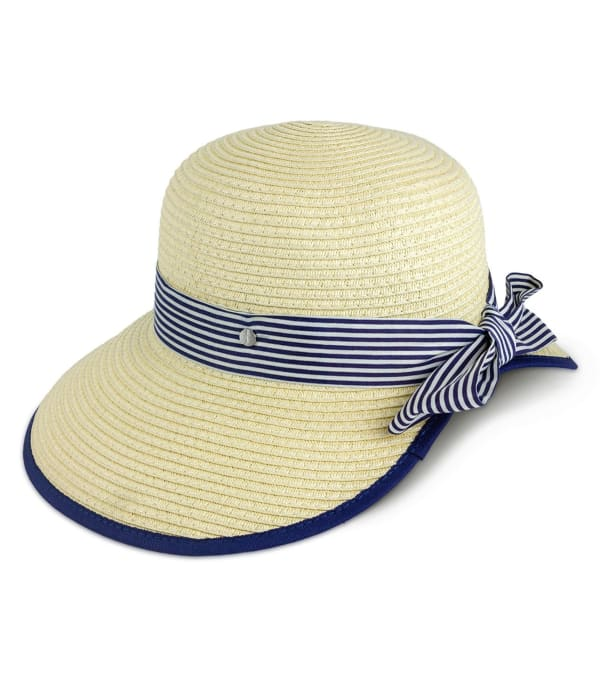 Jones New York Straw Striped Ribbon Garden Hat - Natural - Front