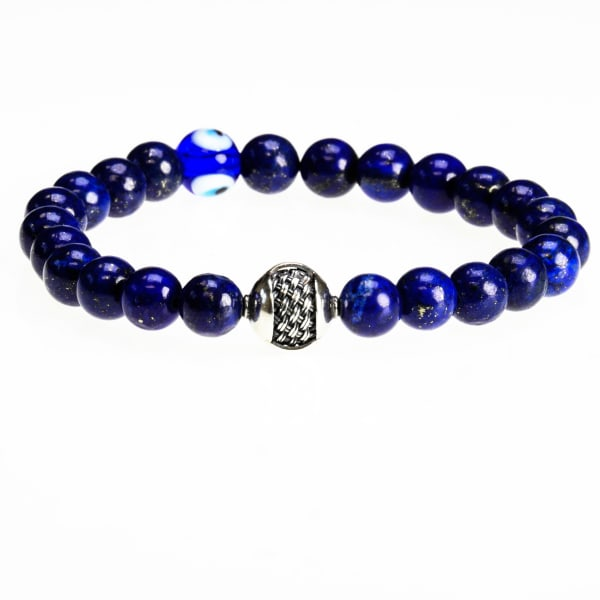 """Dell Arte by Jean Claude 8 mm Rare Lapis Beads Bracelet with 925 Sterling Silver """"Wisdom Charm' and Evil Eye Protection Bead"""