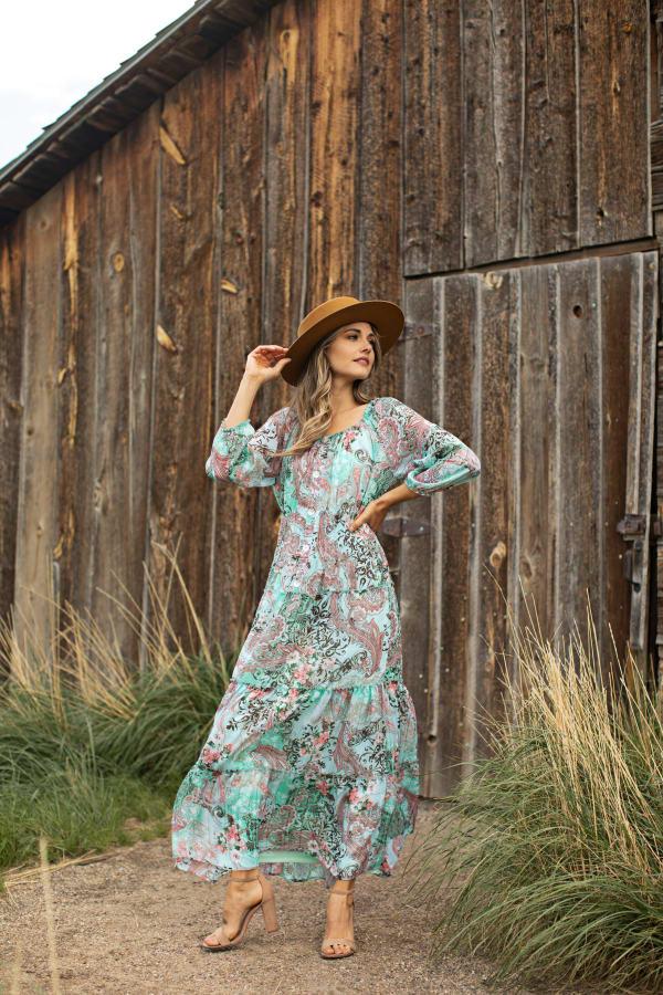 Paisley Veronica Maxi Peasant Dress - Misses - aqua - Front