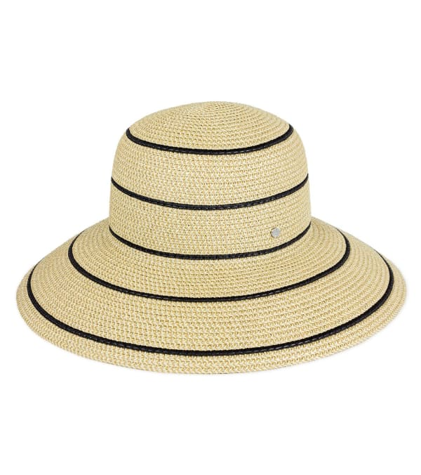 Jones NY Striped Straw Bucket Hat - Natural / Black - Front