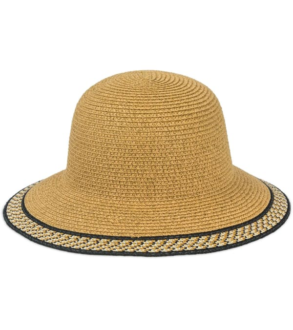 Jones NY Straw Bucket Hat W/ Braided Pattern Border -Toast - Front