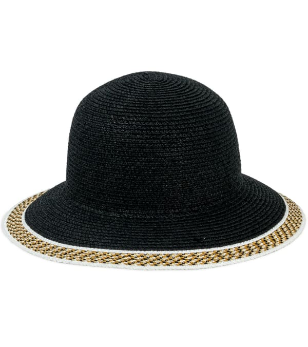 Jones NY Straw Bucket Hat W/ Braided Pattern Border - Black - Front