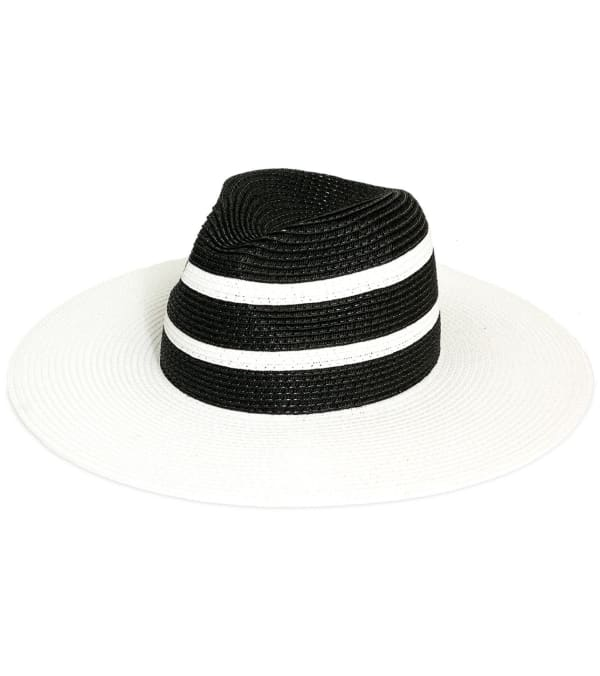 Jones NY Solid Contrast Striped Straw Panama Hat - Black / White - Front
