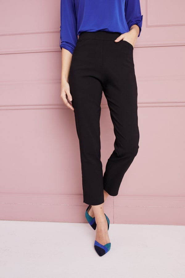 Petite Roz & Ali Super Stretch Tummy Control Pant with Cat Eye Pockets and Ankle Slits - Petite - Black - Front