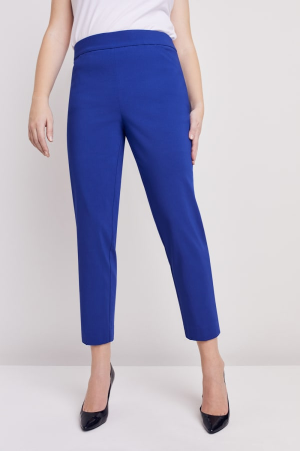 Petite Roz & Ali Super Stretch Tummy Control Pant with Cat Eye Pockets and Ankle Slits - Petite - Marine Blue - Front