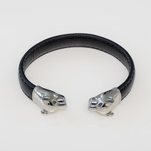 Dell Arte by Jean Claude Natural Black Leather Adjustable Bangle With Stainless Steel Panthere Closure Endings