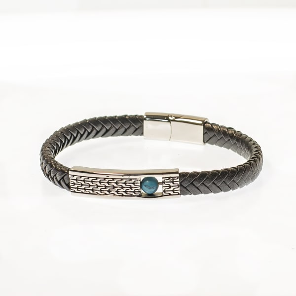 Dell Arte by Jean Claude Genuine Black Leather Fashioned Bracelet With Stainless Steel Placket and Inside Aqua Magnesite Movable Bead Insert (Figit) Stainless Steel Closure