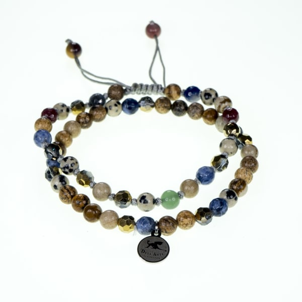 Dell Arte by Jean Claude Double Combo Beads Bracelets Shambala And Adjustable With Stainless Steel Tag Including Sodalite, Mookite, Balmatin, Green Jade, Agate And Moss Agate Beads
