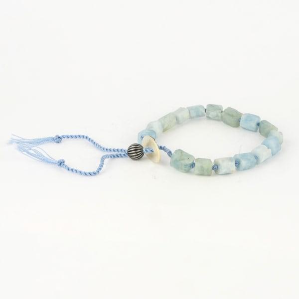 Dell Arte by Jean Claude Adjustable AA Grade Tanzanian Aquamarine Uneven Beads Shamballa Bracelet