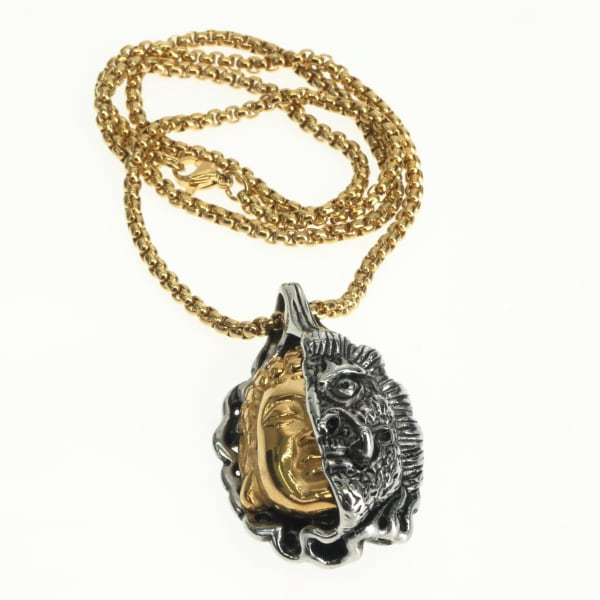 Dell Arte by Jean Claude Gold And Silver Buddha And Evil Eyes Devil Pendant, Stainless Steel, Size 46*28mm. Gold Plated Stainless Steel Chain 26 Cm [20 Inches]